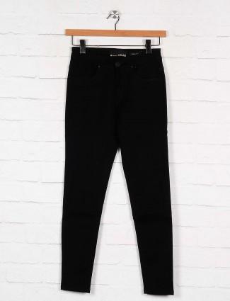 solid black color casual wear denim jeans