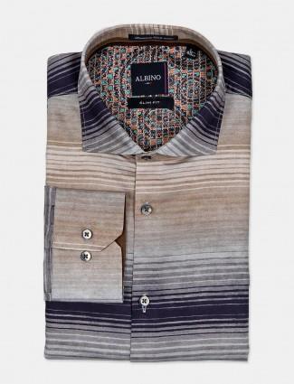 Albino full sleeves brown stripe shirt