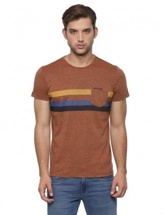 Allen Solly brown hue stripe t-shirt