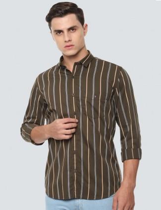 Allen Solly olive stripe cotton shirt