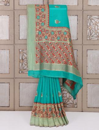 Alluring green bhagalpuri silk saree