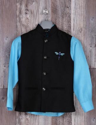 Aqua and black hue waistcoat