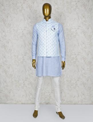 Aqua and black thread weaving waistcoat set for party