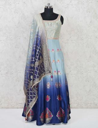 Aqua and blue shaded anarakali suit in banarasi silk