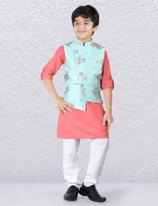 Aqua and peach printed raw silk waistcoat set
