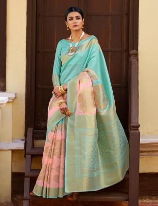Aqua and pink silk festive saree