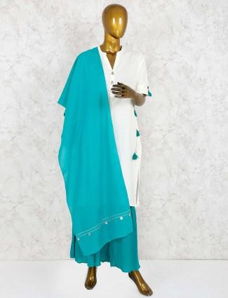 Aqua and white cotton sharara suit
