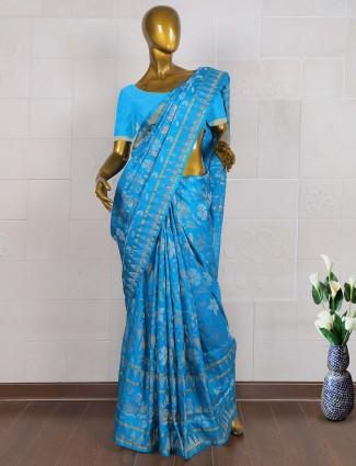 Aqua blue color pure south silk wedding saree