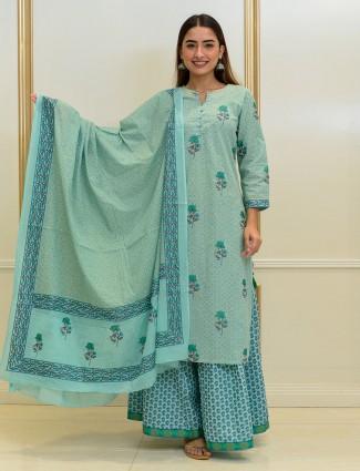 Aqua blue festive wear cotton sharara suit