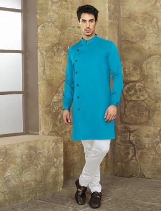 Aqua color cotton plain kurta suit