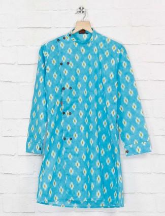 Aqua color printed festive cotton kurta suit
