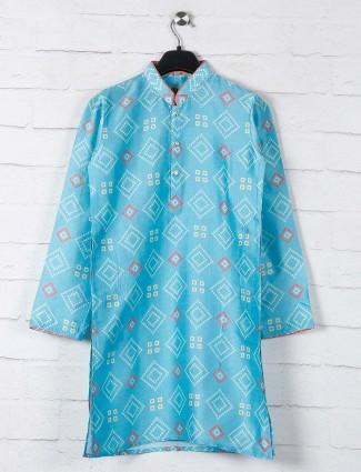 Aqua cotton kurta suit with bandhej print