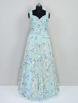 Aqua floor length net gown for wedding