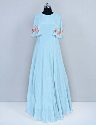 Aqua floor length silk gown for wedding