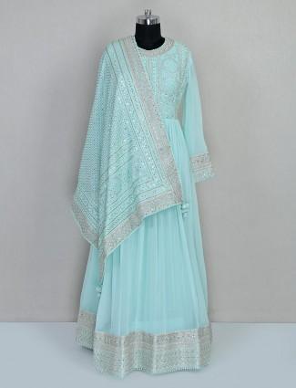 Aqua georgette festive wear anarkali salwar suit