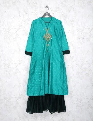 Aqua green cotton fabric double layer kurti