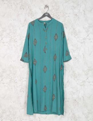 Aqua green cotton fabric kurti set