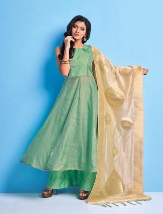 Aqua green cotton festive punjabi palazzo suit