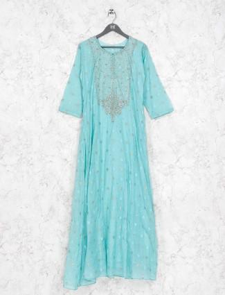 Aqua green cotton silk festive kurti