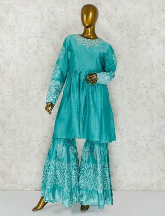Aqua green cotton silk festive wear punjabi sharara suit