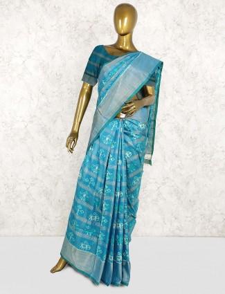 Aqua green saree in patola silk