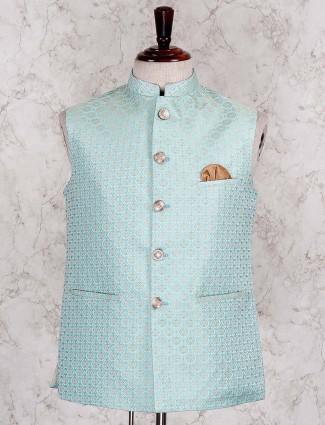 Aqua green terry rayon festive waist coat