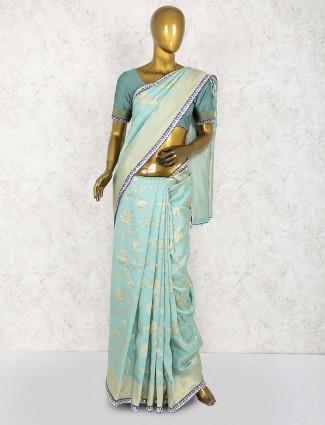 Aqua hue festive wear cotton silk saree