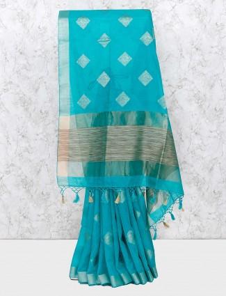 Aqua hue lovely cotton saree