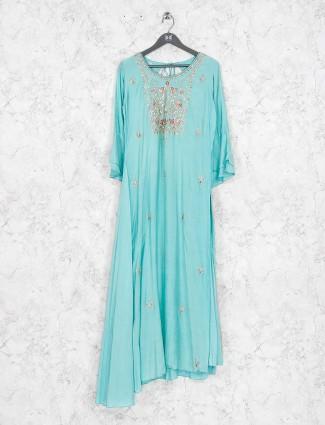 Aqua hue pretty cotton silk kurti