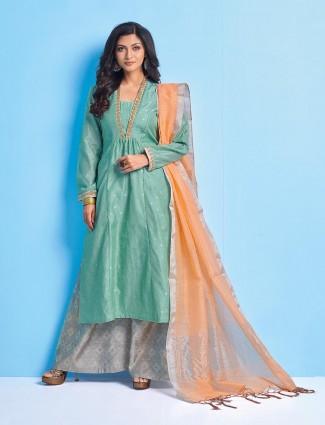 Aqua hue punjabi palazzo suit in cotton