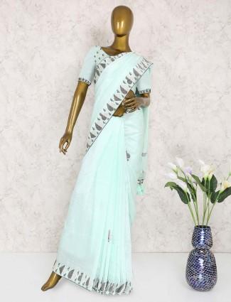 Aqua hue pure silk festive sari