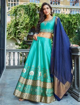 b23740d31b Aqua hue banarasi silk fabric semi stitched lehenga choli - G3 ...