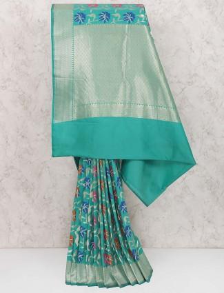 Aqua hue semi silk festive wear saree