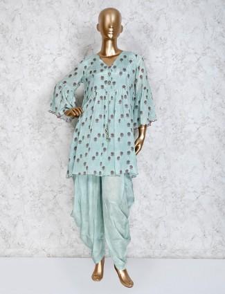 Aqua printed cotton pleated dhoti suit
