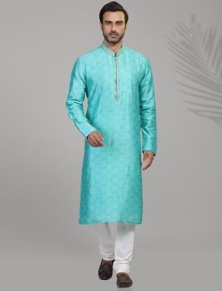 Aqua silk bandhej printed kurta suit for festive