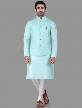 Aqua thread woven raw silk waistcoat set