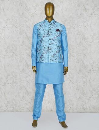 Aque color silk fabric printed waistcoat set
