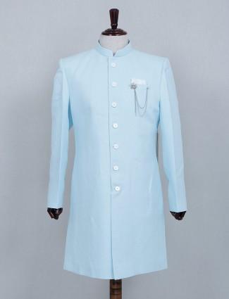 Asthetic sky blue silk sherwani set