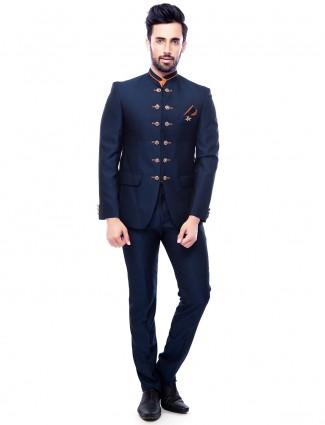 Attractive navy plain jodhpuri suit