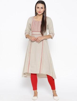 Aurelia beige hue round neck cotton kurti