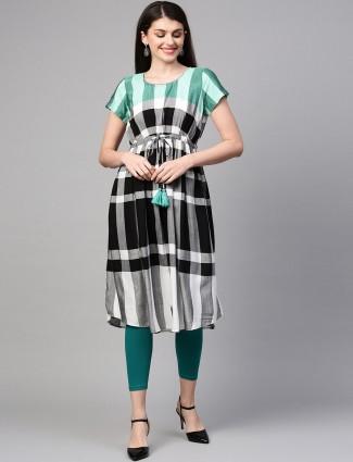 Aurelia black checks casual wear kurti
