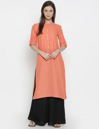 Aurelia Pain peach color cotton kurti