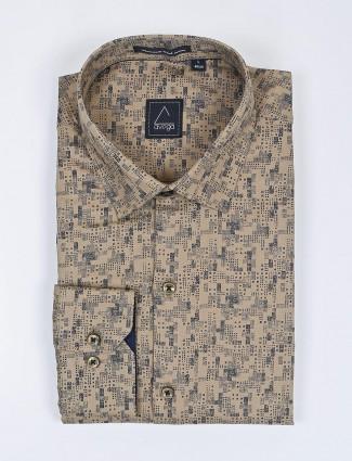 Avega beige cotton fabric printed shirt