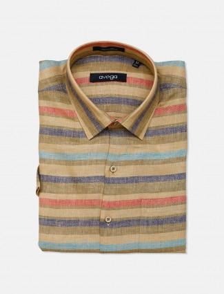 Avega beige stripe pattern linen shirt