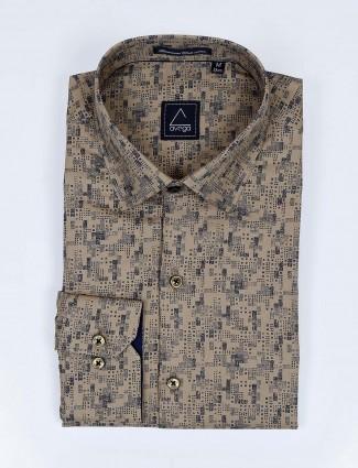 Avega khaki color printed slim fit cotton shirt