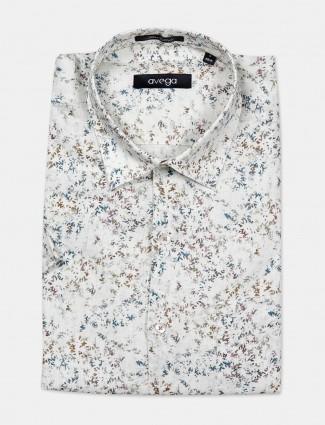 Avega linen fabric cream printed mens shirt
