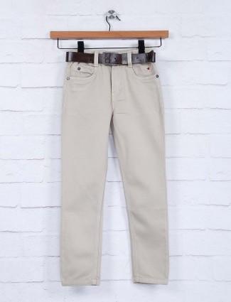 Bad Boys beige hue solid denim jeans