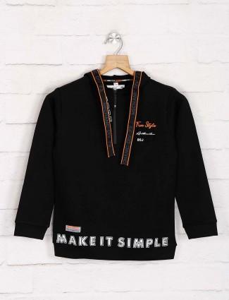 Bambini cotton black printed hoodie
