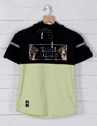 Bambini half sleeves light green t-shirt