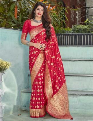Banarasi silk maroon festive wear saree